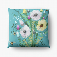 A Turquoise Floral Cushion (COVER ONLY)