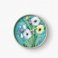 Turquoise Flower Clock Home Decor