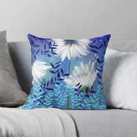 Blue Tranquility Floral Cushion (COVER ONLY)
