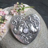 Heart Brooch with Rose Quartz, Love Birds Design