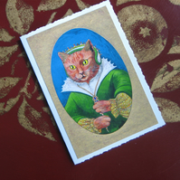 Tudor Ginger Cat Miniature Portait Greetings Card