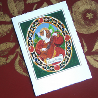 Tudor Guinea Pig with Lute Miniature Portrait Greetings Card