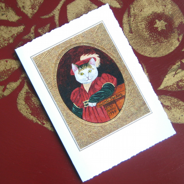 Tudor Cat Miniature Painting Blank Card