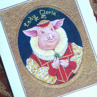 Lady Gloria Tudor Pig Miniature Painting Card