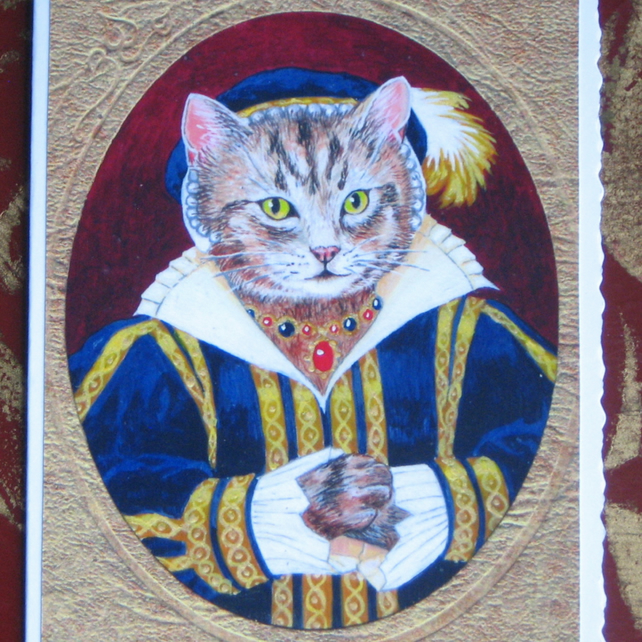 Tudor Tabby Cat Miniature Portrait Greetings Card