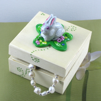 Wooden Bunny Rabbit Box, Gift for a Child