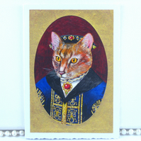 Tudor Gentleman Cat Miniature Portrait Blank Card