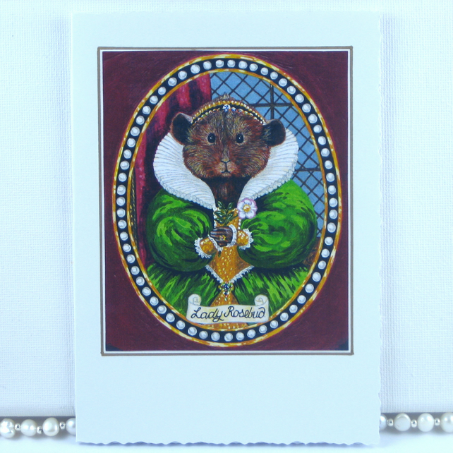 Miniature Portrait of Tudor Guinea Pig Greetings Card