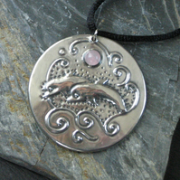 Dolphin Necklace in Silver Pewter