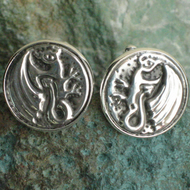 Dragon Cufflinks Handmade in Silver Pewter