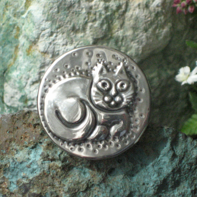 Pewter Cat Brooch