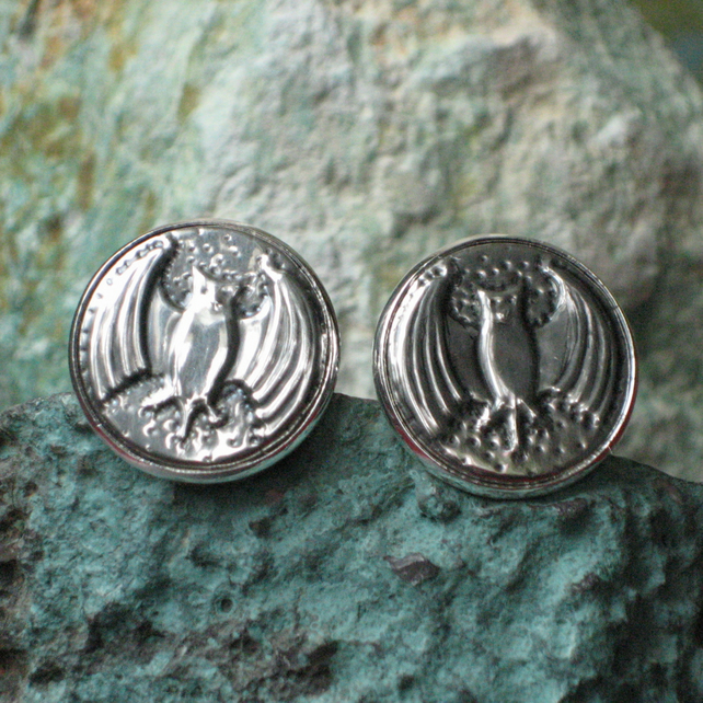 Silver Pewter Bat Cufflinks, Cuff Links, Halloween or Gothic Wedding