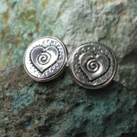 Pewter Cufflinks, Heart and Spiral Design