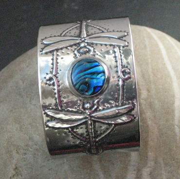 Reserved for Ann. Blue Shell Dragonfly Cuff Bracelet