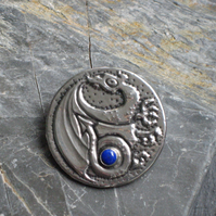 Dragon Brooch with Lapis Lazuli