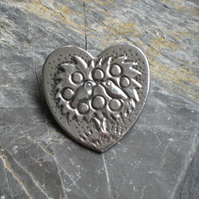 Heart Brooch in Silver Pewter, Birds in Tree
