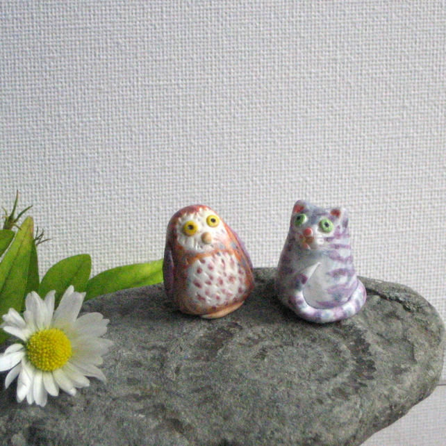 Tiny Owl and Pussycat Figures