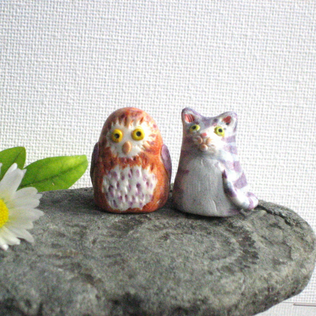 Miniature Owl and Pussycat Figures
