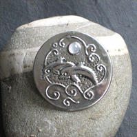Dolphin Moonstone Brooch in Silver Pewter