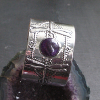 Amethyst Dragonfly Cuff in Pewter