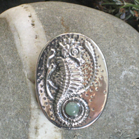 Seahorse Brooch with Green Aventurine Cabochon