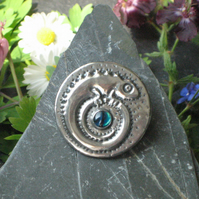 Pewter Chameleon Brooch with Paua Shell