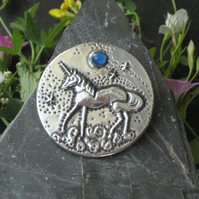 Unicorn and Blue Moon Brooch