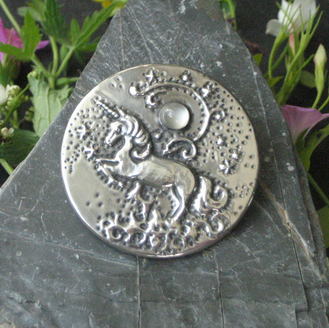 Unicorn Brooch with Moonstone
