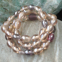 Three Glass Bead Bracelets in Peach Pink
