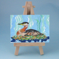 Reduced! ACEO Original Red-necked Grebe Painting