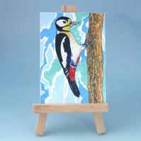 Reduced. Great Spotted Woodpecker Original Painting ACEO