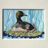 Sale! Original Painting ACEO Black-necked Grebe