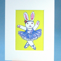 Dancing Rabbit ACEO Painting