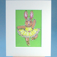 ACEO Bunny Ballerina Painting