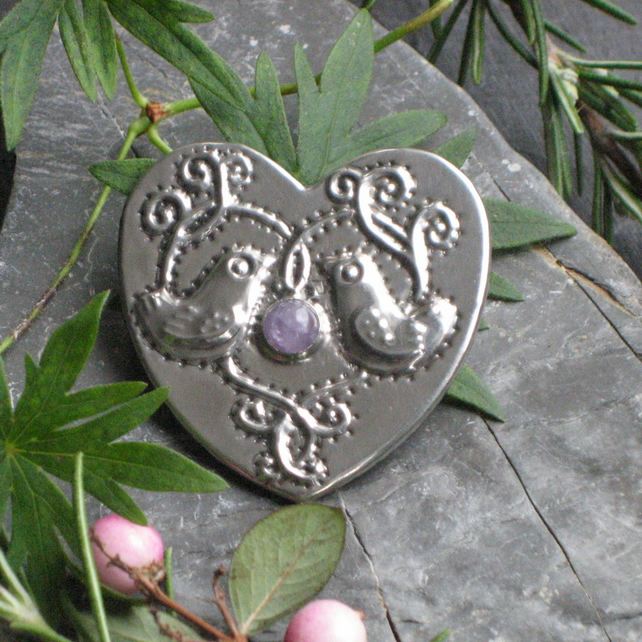 Heart Brooch, Amethyst and Love Birds Design in Silver Pewter
