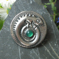 Chameleon Brooch with Green Agate