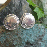 Scallop Shell Pewter Cufflinks Handmade in Pewter