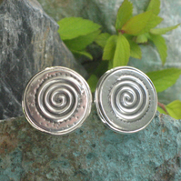 Spiral Cufflinks, Cuff Links in Silver Pewter with Spiral Design, Handmade