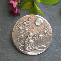 Moongazing Hare Brooch