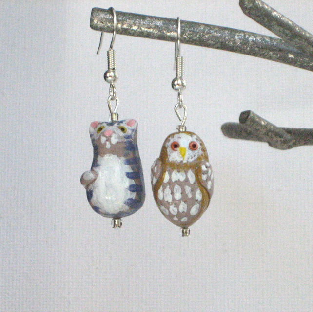 Earrings, The Owl and the Pussycat Design