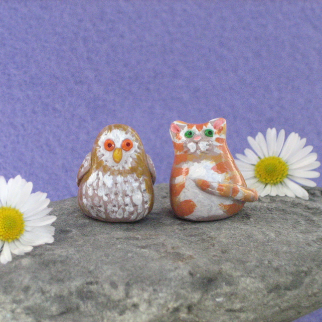 Owl and Cat Collectable Miniature