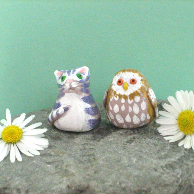 Miniature Figures, Owl and Cat