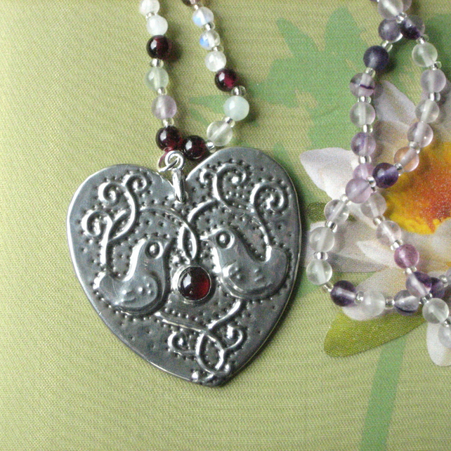 Heart Necklace with Garnet in Pewter with Gemstones, Birds Design