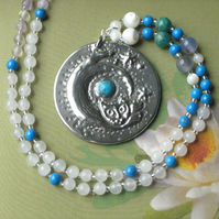 Turquoise Cat Pendant Necklace with Gemstones