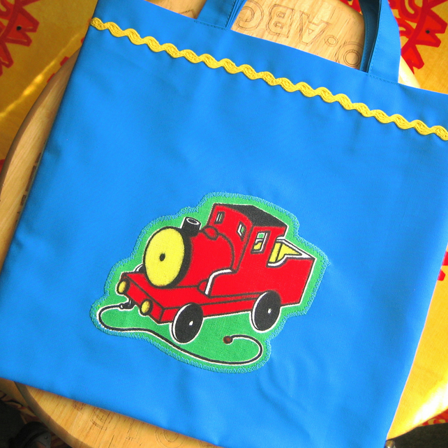 Child's Tote Bag, Retro Train Design