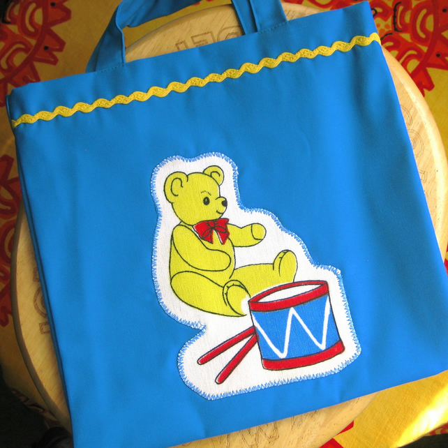 Tote Bag for a Child, Teddy and Drum Design