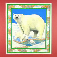 Arctic Scene, Polar Bear Mother and Babies Watercolour Painting