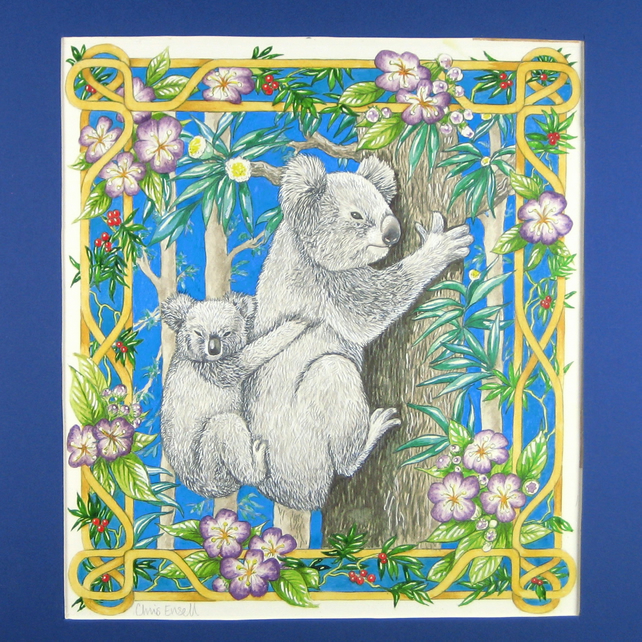 Koala Mother and Baby Original Painting