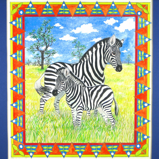Zebra Mother and Baby Original Painting