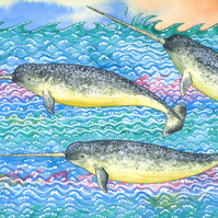 Narwhals Original Decorative Painting